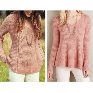 Anthropologie Moth Zip Stitched Pullover Sweater M